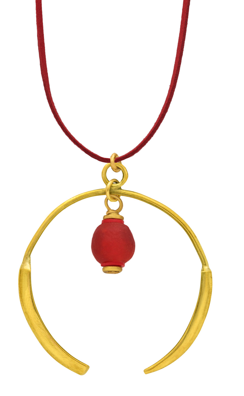 Small Red Aza Petite Necklace on Suede by SHIKHAZURI