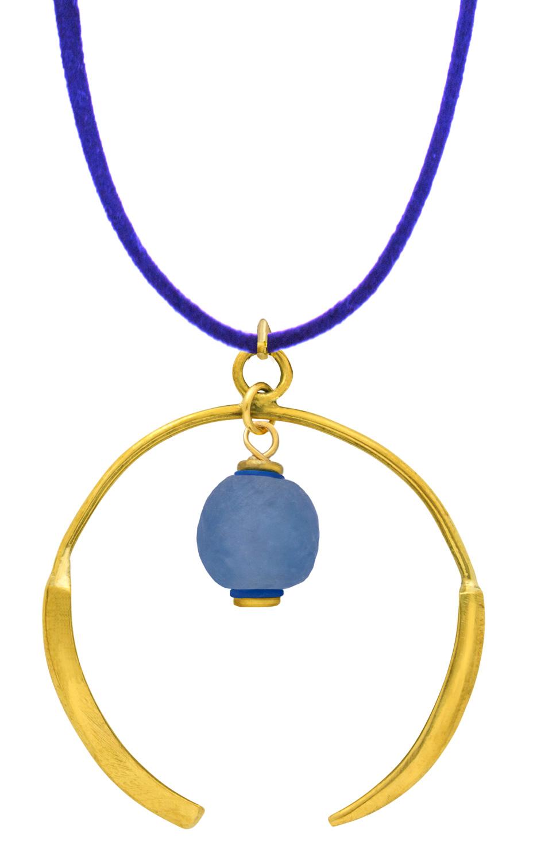 Small Samawati Blue Aza Petite Necklace on Suede by SHIKHAZURI