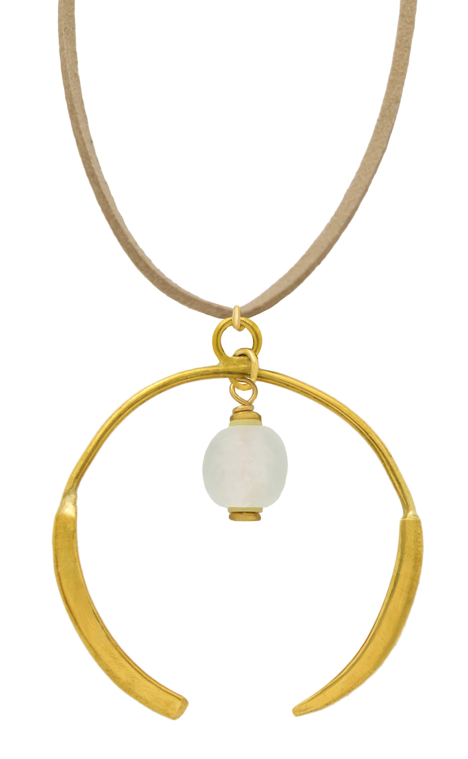 Small Nyeupe White Aza Petite Necklace on Suede by SHIKHAZURI