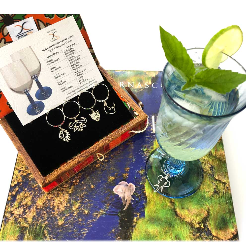 SHIKHAZURI Big Five Wildlife Wine Glass Charms