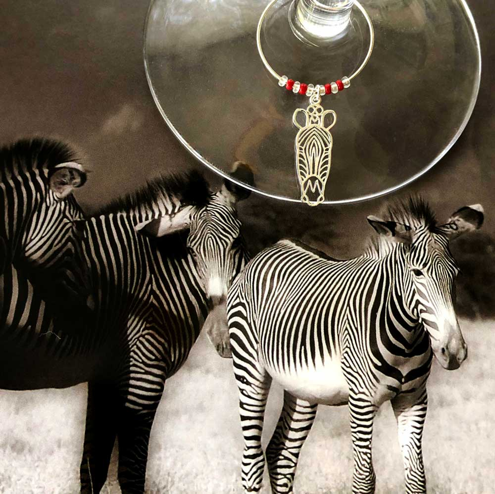 Zebra Wine Glass Charm Simply Zuri by SHIKHAZURI
