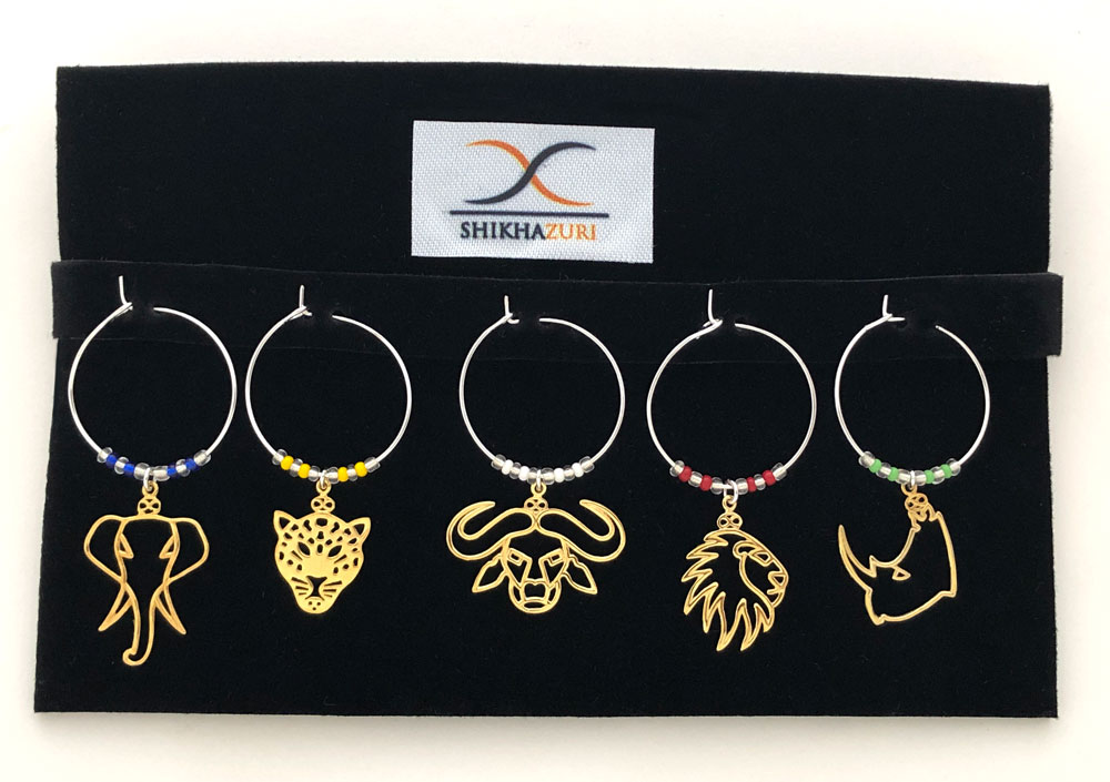 Big Five Gold Plated Charms Coloured Beads by SHIKHAZURI