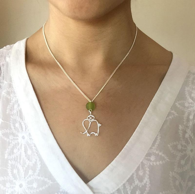 Green bead Elephant Necklace modelled by SHIKHAZURI