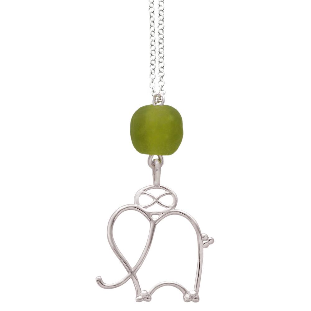 Save The Elephants Green Bead Necklace Simply Zuri by SHIKHAZURI