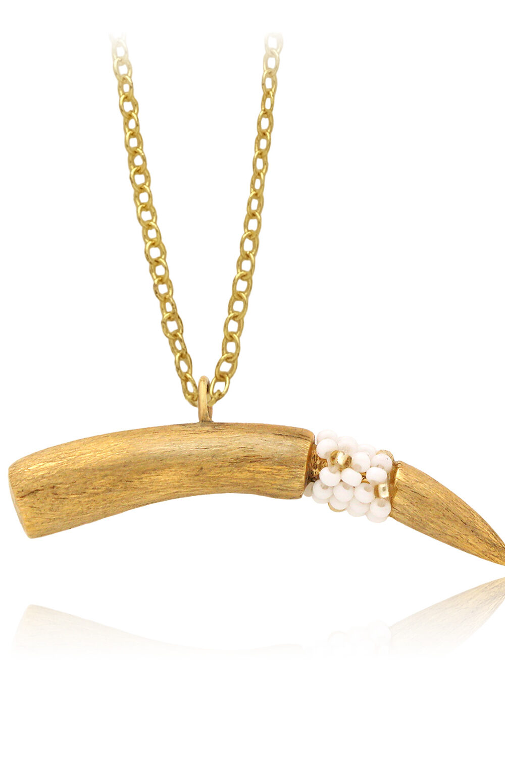 Textured Beaded Tusk Necklace White Fine Chain by SHIKHAZURI