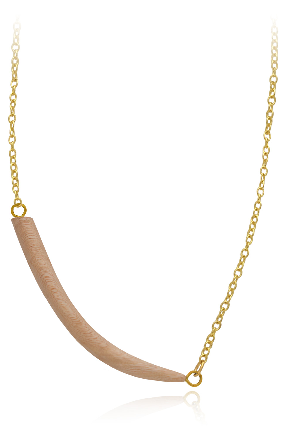 Wood Tusk Necklace Fine Chain by SHIKHAZURI