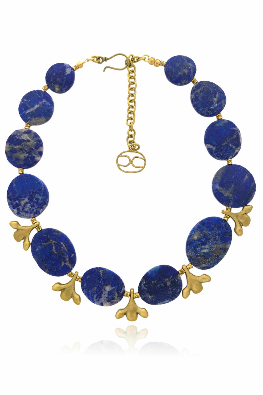 Leza Lapis Lazuli Brass Leaf Pendants by Shikhazuri
