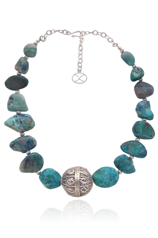 Chrysocolla Stone Yemeni Bead Necklace by Shikhazuri