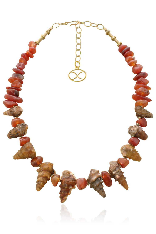 Sadaf Shell Fossil Statement Necklace by SHIKHAZURI