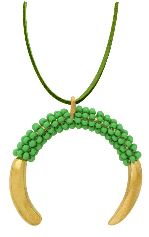 Green-Aza-Beaded-Pendant-Necklace-Suede-Shikhazuri