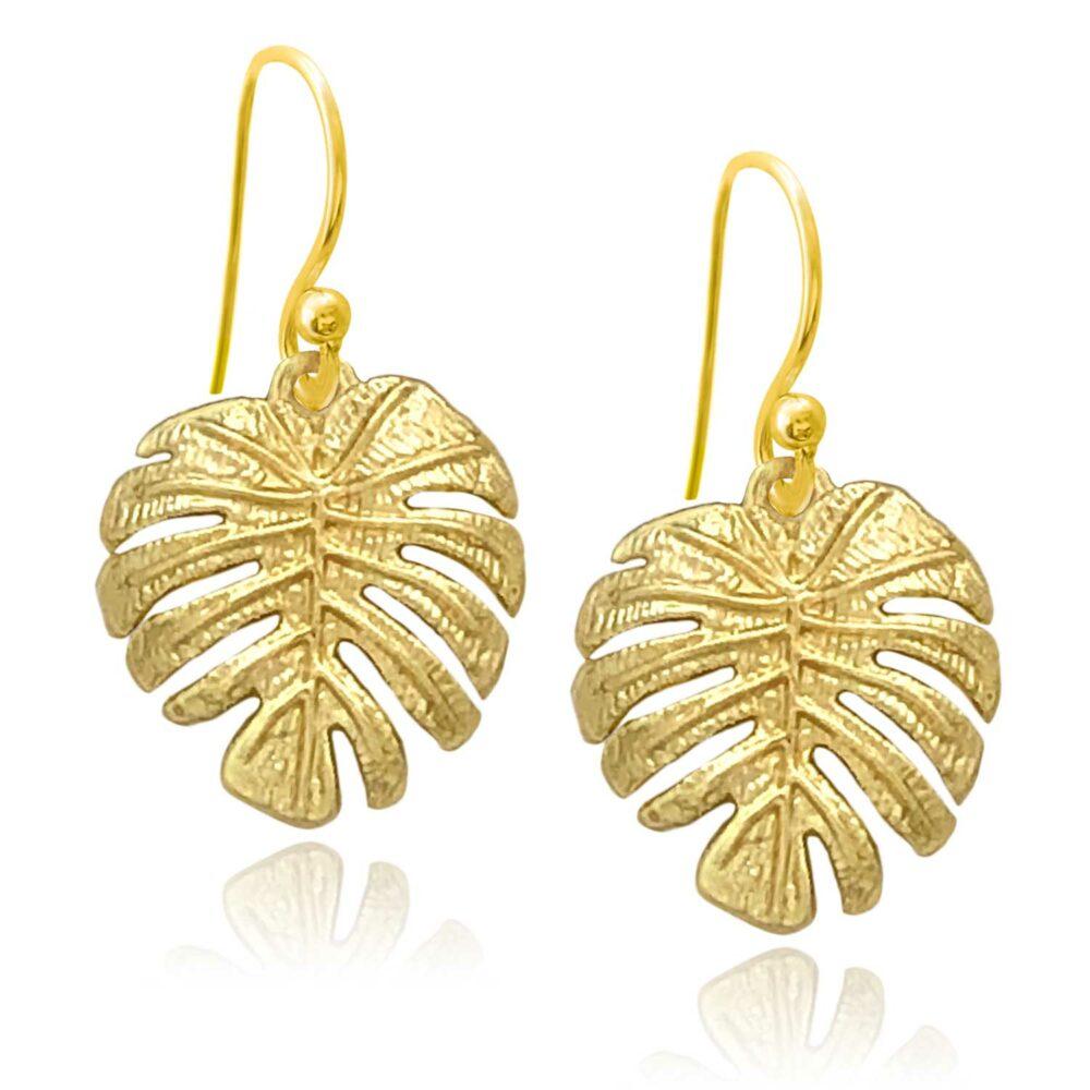 Monstera Gold Plated Earrings by Shikhazuri