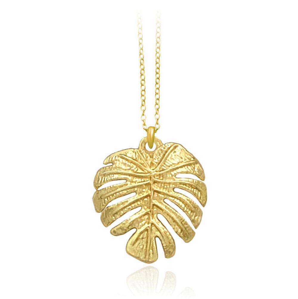 Monstera Gold Plated Necklace by Shikhazuri
