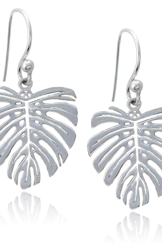 Monstera Silver Plated Earrings by Shikhazuri