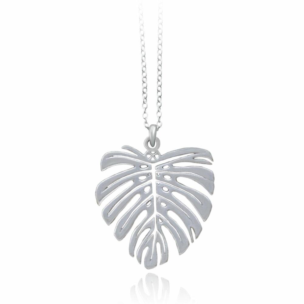 Monstera Silver Plated Necklace by Shikhazuri
