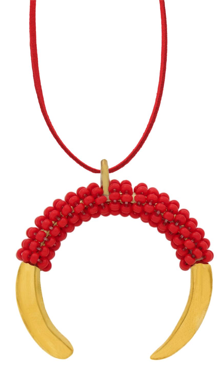 Red-Aza-Beaded-Necklace-on-Suede-SHIKHAZURI