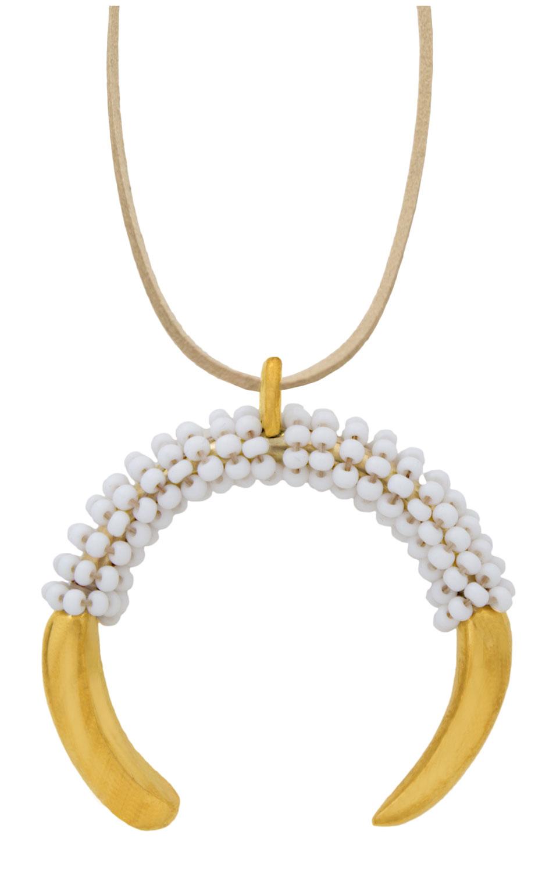 White-Aza-Beaded-Pendant-Necklace-Suede-SHIKHAZURI